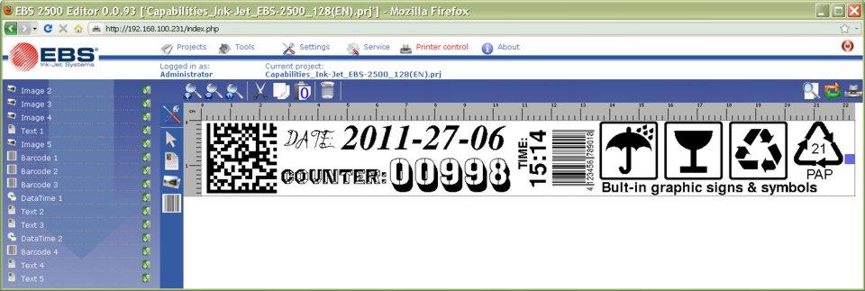 EBS 2500 Großschrift Inkjet DOT